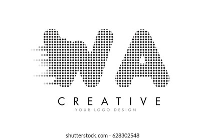 WA W A Letter Logo Design with Black Dots and Bubble Trails.