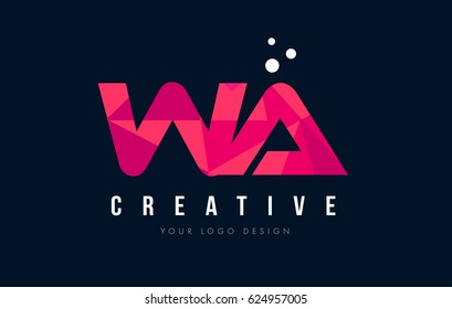 WA W A Purple Letter Logo Design with Low Poly Pink Triangles Concept