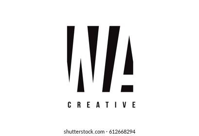 WA W A White Letter Logo Design with Black Square Vector Illustration Template.