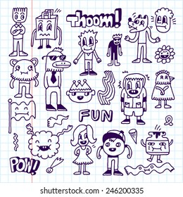 Wacky Crazy Doodles Set 2 Vector Illustration Hand Drawn School Notebook