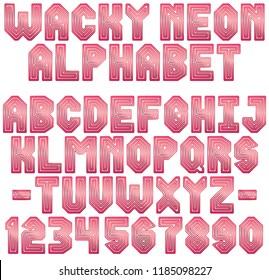 Wacky Neon Red Alphabet