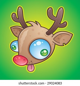 Wacky Rudolph The Red Nosed Reindeer face with bulging eyes sticking out his tongue. drawn in a humorous cartoon style.