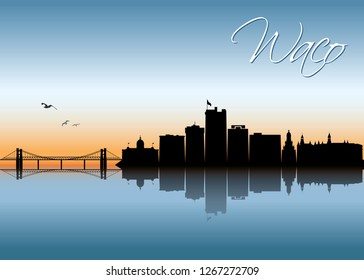 Waco skyline - Texas, United States of America, USA - vector illustration