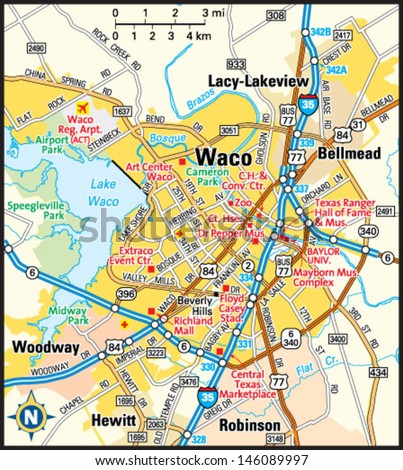 Map Of Waco Tx Waco Texas Area Map Stock Vector (Royalty Free) 146089997  Map Of Waco Tx