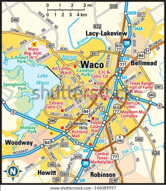 Map Of Waco Texas And Surrounding Area Waco Texas Area Map Stock Vector (Royalty Free) 146089997
