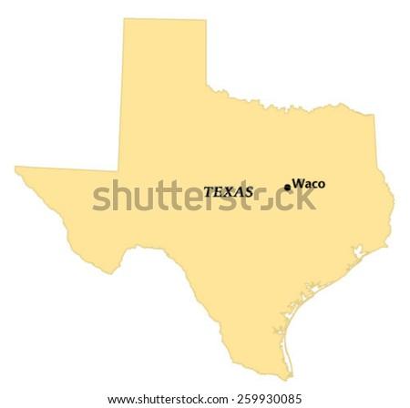 Waco Texas Locate Map Stock Vector Royalty Free 259930085