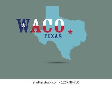 Waco Texas typography with map, Vector EPS 10.