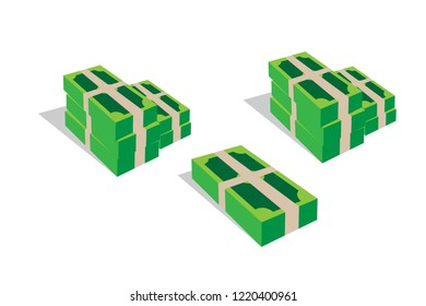 wad of cash. banknotes. set of money. dollars. eps10