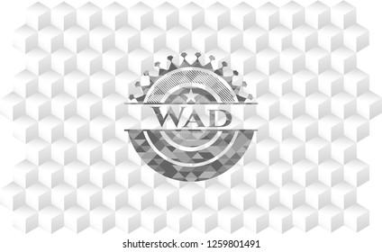 Wad grey badge with geometric cube white background