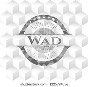 Wad grey emblem with geometric cube white background