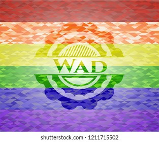 Wad on mosaic background with the colors of the LGBT flag