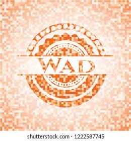 Wad orange mosaic emblem with background
