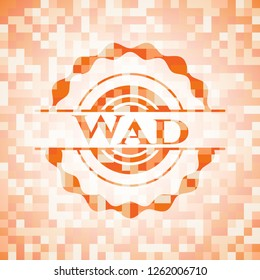 Wad orange tile background illustration. Square geometric mosaic seamless pattern with emblem inside.