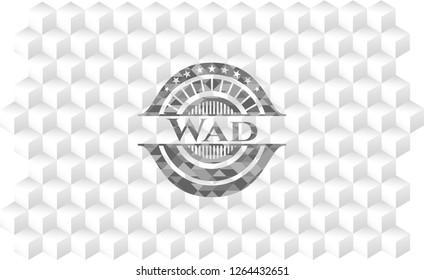 Wad retro style grey emblem with geometric cube white background