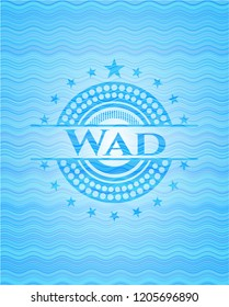 Wad sky blue water wave badge background.