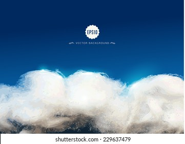 Wadding clouds on blue night-sky background. Vector illustration
