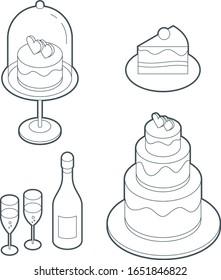 Wadding set icons, wadding cake