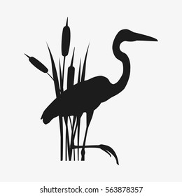 Wader and reed. Isolated on white nackground. vector stock illustration