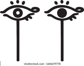 Wadget is an Egyptian eye symbol of divine mercy on a rod. Sign, silhouette. Vector.