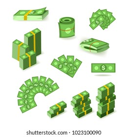 Wads, stacks, rolls and piles of dollar banknotes, bills, money, flat style vector illustration isolated on white background. Set of flat style dollar banknotes in stacks, bundles, wads and rolls