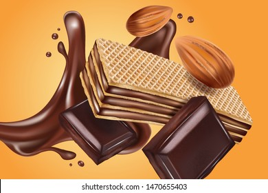 Wafer chocolate flavor tasty in the middle isolated on solid color background. Vector realistic in 3d illustration. Food concept.