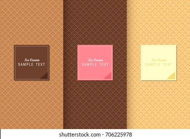 Wafer for  ice cream texture sweet food vector background design.