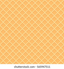 Wafer seamless background. Waffles pattern. Texture of  sweet and delicious food. Vector illustration. EPS 10.