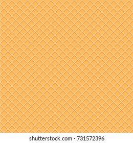 Wafer style seamless pattern background. Illustration of a golden yellow seamless texture like wafer, waffle or ice cream cone.
