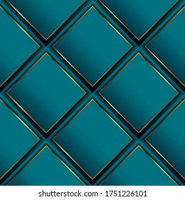 Waffle 3d vector seamless pattern. Geometric luxury surface background. Repeat turquoise waffled modern backdrop. Beautiful ornate abstract ornament with rhombus, gold frames, stripes. Elegant design.