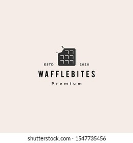 waffle bites logo hipster retro vintage vector icon