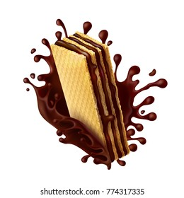 Waffle cookies with chocolate filling and splash of melted chocolate realistic vector illustration isolated on white background. Mock up for packing sweets, design element for advertising promo poster