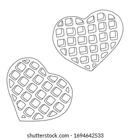 waffle doodle trendy tasty object from Kitchen collection, simple element illustration. Kitchenware icon line element. heart shaped dessert