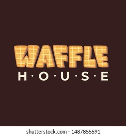 Waffle House - lettering logo design. Vector illustration.