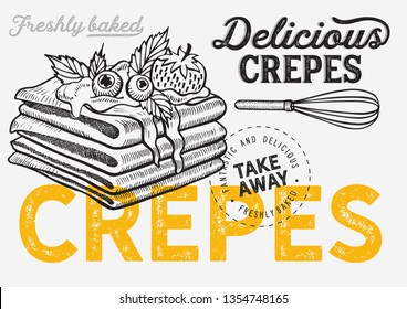 Waffle, pancake, crepe illustration for restaurant on vintage background. Vector hand drawn dessert icons for food cafe and bakery. Design with lettering and doodle graphic fruits.