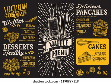 Waffle and pancake menu template for restaurant on a blackboard background vector illustration brochure for food and drink cafe. Design layout with vintage lettering and doodle hand-drawn graphic.