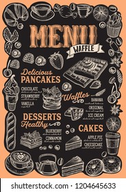 Waffle and pancake menu template for restaurant on a blackboard background vector illustration brochure for food and drink cafe. Design layout with lettering and frame of hand-drawn graphic fruits.