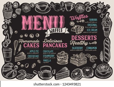 Waffle and pancake menu template for restaurant on a blackboard background vector illustration brochure for food and drink cafe. Design layout with vintage lettering and frame of hand-drawn graphic.