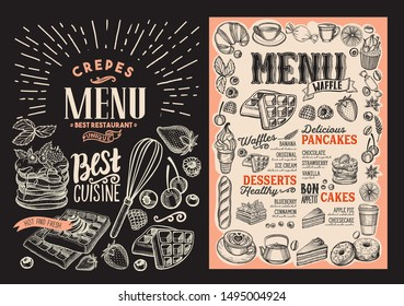 Waffle and pancake menu template for restaurant on background vector illustration brochure for food and drink cafe. Design layout with vintage lettering and doodle hand-drawn graphic icons.