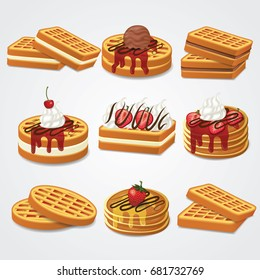 waffle , pancake set vector illustration