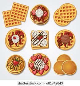 waffle , pancake top view set vector illustration