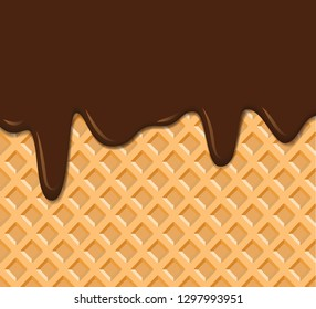 waffle texture with melted chocolate background vector illustration