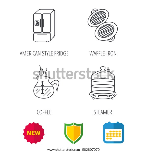 Waffle-iron, coffee and steamer icons. American style fridge linear signs. Shield protection, calendar and new tag web icons. Vector