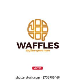 Waffles Belgium Breakfast Cafe Sweet Logo. Waffles Logotype