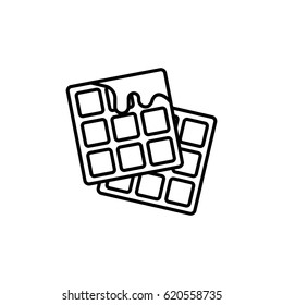 Waffles with honey outline icon.