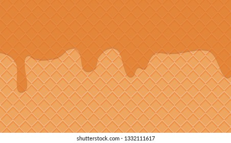 Waffles with honey vector pattern. Sweet and delicious food - Vector