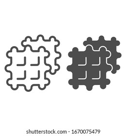 Waffles line and solid icon. Two fried belgian sweet waffle dessert symbol, outline style pictogram on white background. Bakery sign for mobile concept and web design. Vector graphics