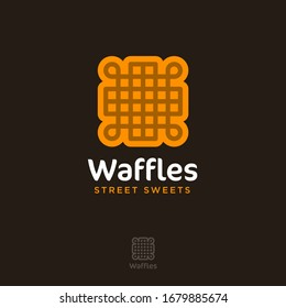 Waffles logo. Street food. Yummy emblem. Bakery and cafe logo. Symbol of waffle or cookie with letters.