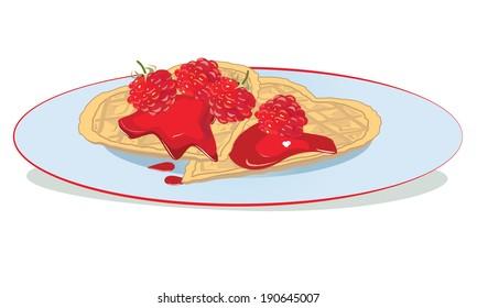 Waffles with raspberry sauce