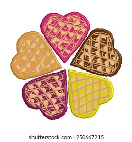Waffles in the shape of hearts in different colors