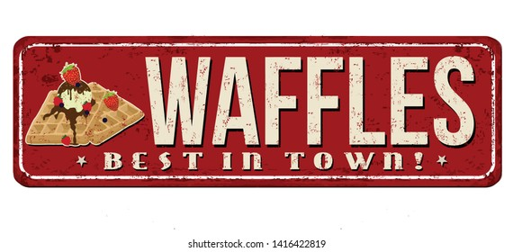 Waffles vintage rusty metal sign on a white background, vector illustration